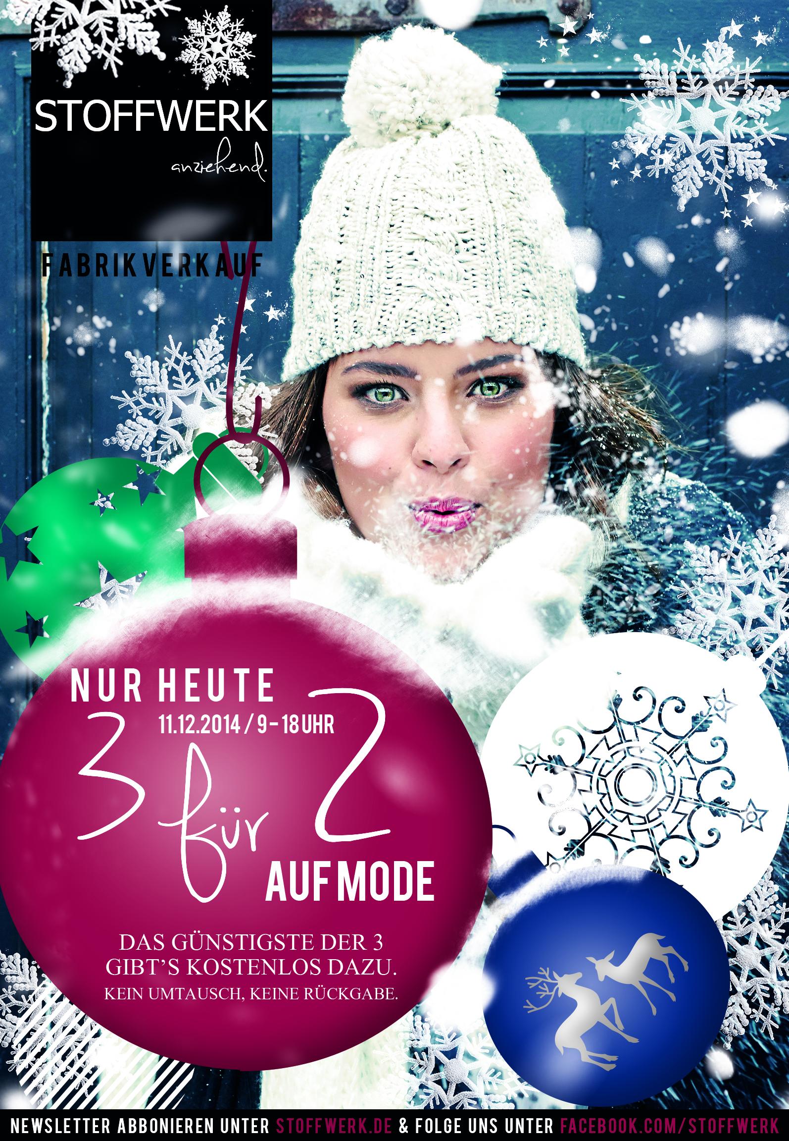 3 für 2 / JETZT / nur heute / Do. 11.12.2014 bis 18 Uhr